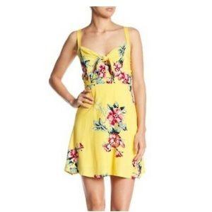 SOCIALITE Yellow Floral Bow Knot Tank Dress L